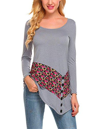 AILIENT Moda Maglietta Elegante Donna Maglie A Manica Lunga Patchwork Fiore Stampato Camicetta T Shirt Top Elegante Grey