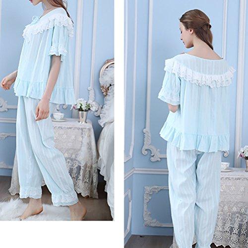 Zhuhaitf Gute Qualität Womens Summer Comfy V-neck Short Sleeve Breathable Loose Nightwear Pajama Set Blue