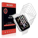 MASCHERI Kompatibel mit Apple Watch 40mm Series 4 Schutzfolie, [6 Stück] Nass Installation Bildschirmschutz Folie Für Apple Watch Serie 4/3/2/1 40mm