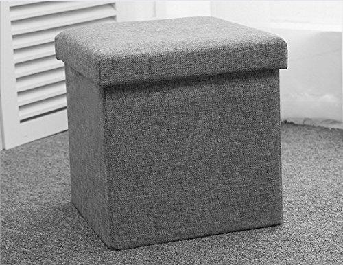 Almacenamiento plegable reposapiés tela con tapa multifuncional de cubo reposapiés asiento es ideal para los juguetes, ropa, libros (gris), 30*30*30CM
