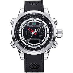 Alienwork DualTime Analog-Digital Armbanduhr Chronograph LCD Uhr Multi-funktion schwarz Polyurethan OS.WH-3315-1