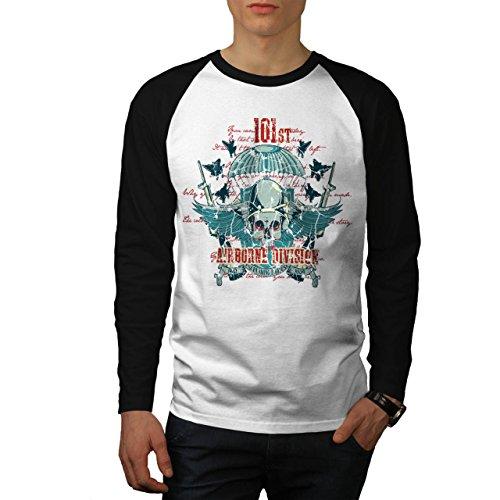 Airborne Aufteilung Schädel Krieg Flug Herren S Baseball lange Ärmel T-Shirt | Wellcoda (Dunklen T-shirt Airborne)