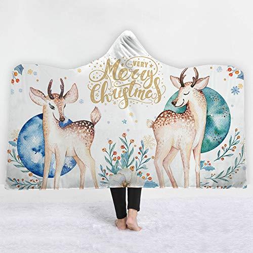 FimGGe Christmas Deer Pattern Decke Sherpa Fleece Soft Winterbettwäsche Wearable Warm Dicke Kapuzendecke Joyous Cobija Cobertor-150cm * 200cm