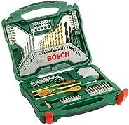 Bosch X-Line borr- och skruvdragarsats i titan i 70 delar (trä, sten och metall, tillbehör borrmaskin)