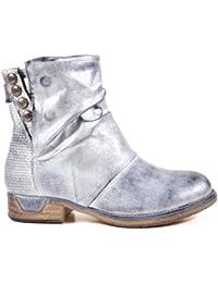 Damen Stiefeletten Biker Boots Nieten Schnallen Knöchelhohe Stiefel Leder- Optik QBZ04 0852d728a8