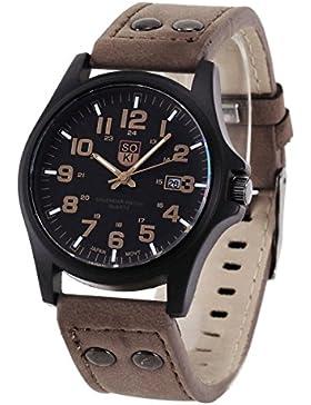 XLORDX Uhr Retro Armbanduhr Damen Uhr Herrenuhren Datum Quarzwerk Uhr PU Leder Geschenk Gift Watch dunkelbraun