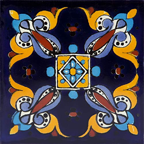 Cuadrado - 30 mexikanische Fliesen 10 x 10 cm Talavera Badezimmer- und Küchenfliesen Dekoration für Badezimmer, Dusche, Treppen, Küchenrückwand