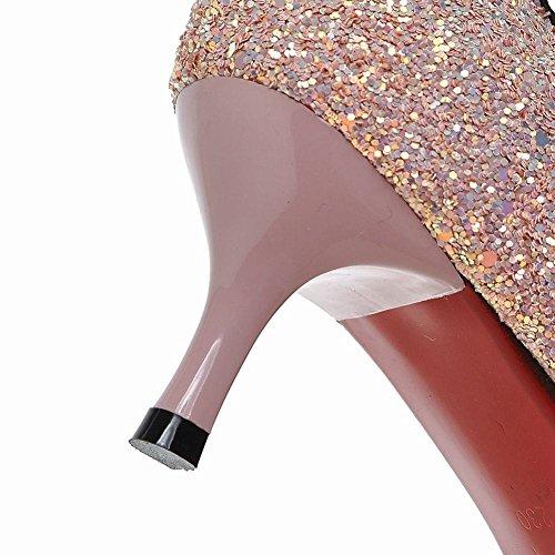 Moderna Gatinho Senhora Bombas Com Sexy Paetês Fechado Apontou Rosa Circuito Mee Sapatos Calcanhar I1Eqn54H