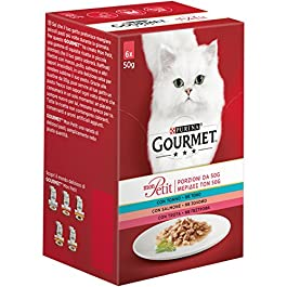 Gourmet Cibo per Gatti Tonno, Salmone e Trota – Confezione da 8 (48 buste x 50gr)