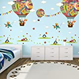 ElecMotive Penguins Clouds Bear Giraffe on Colourful balloons Decorative Peel & Stick Wall Art Sticker Decals Kids Boys Nursery Wall Art Room Decor