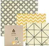 SuperBee Emballages de Cire d'abeille | Ensemble de 3: Petit, Moyen et Grand | Commerce Éthique, Emballage Alimentaire Réutilisable et Écologique | Classical
