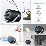 Mystery Small Adjustable Table Fan with Double Blades, 2 Speeds USB Personal Desk Fan Air Circulator for Office, Nightstand, Bedroom, Travel (Black)