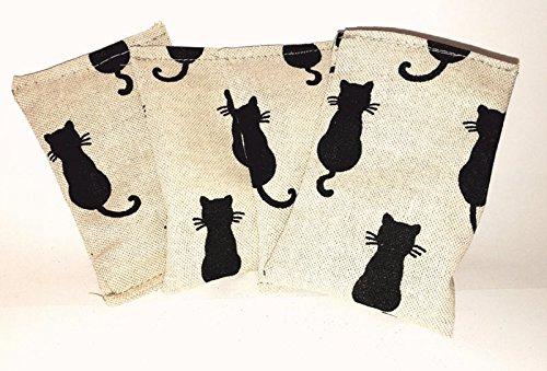 schraegdesign 3er Set Kissen Black Cats Katzenspielzeug Baldrian catnip