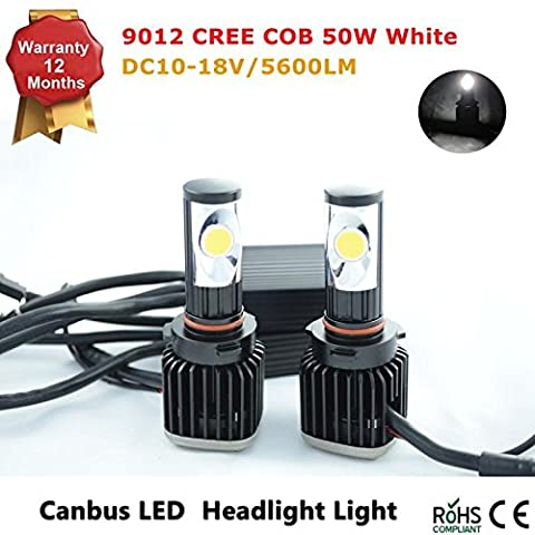 9012 LED Headlight Bulbs All-in-One Conversion Kit - 5600Lm 50W 6000K Cool White CREE COB - 1 Year
