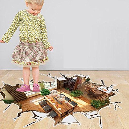 S.Twl.E Abnehmbare Wand Aufkleber 3D-Simulation Aufkleber Wohnzimmer Fußboden Wasserdicht tragen Poster kreative Selbstklebend, Wohnzimmer, große Wand-tragen Abnehmbare Aufkleber