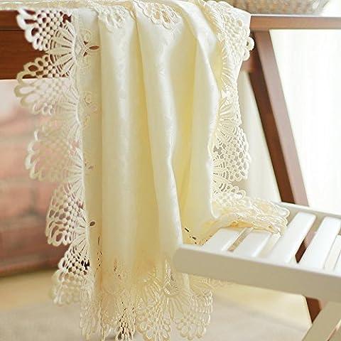 Continental Hollow encaje bordado mantel Revestimientos de tapicería traje de bandera de mesa de café Manteles, algodón mixto, 5151 series, Rectangular 70*210