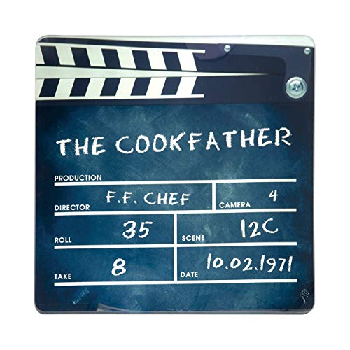 happywife Schneidebrett aus Glas im Filmklappe Design - für alle Godfather Fans - Motiv The Cook Father 30cm x 30cm