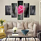 Oil Painting Mural, Wall Art for Living Room Hd Inkjet Fivr Pieces Powder White Flower House Decoration Murals On Canvas Oil Painting