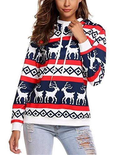 Felpa Natale Donna Autunno Invernali Felpe Renna Eleganti Moda Vintage Tempo Libero Felpe con Cappuccio Costume Manica Lunga Reindeer Stampato Felpa Donna Cappuccio Hoodie Sweatshirt Sportivo