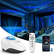 Aurora Projector, Galaxy Projector with Remote Control & Bluetooth Music Speaker for Room Decor, Ocean, Wa