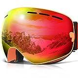 Skibrille ,COPOZZ G1 Ski Snowboard Brille Brillenträger Schneebrille Snowboardbrille Verspiegelt - Für Damen Herren Frauen Jungen - Mit Sehstärke OTG UV-Schutz Anti-Fog Orange