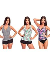 6 tlg. Bademode verschiedene Outfits / Push up Mix-Tankini mit Hotpants / Slip verschiedene Farben f4861