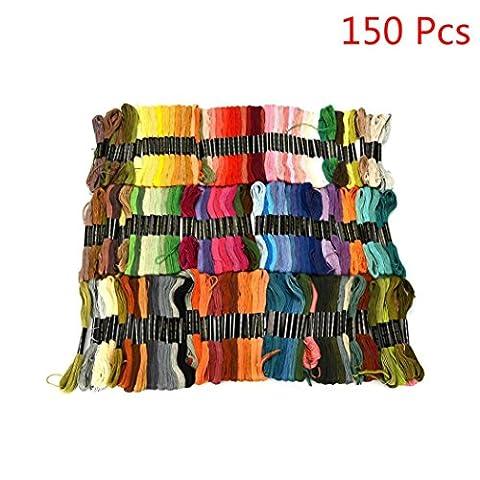 sunnymi Regenbogen Farbe Kreuzstich Threads,Premium Embroidery Floss 24/50/100/150 Farblinie,Handstickerei, Kreuzsticharbeit, Freundschaftsarmbänder, Dekorationen (150 Farblinie)