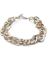 Silvity Damen Kunststoff Kette Statement Glieder Halskette Damen Ankerketten-Collier Farbe: Gold/Silber 46 x 2 cm 880701-20