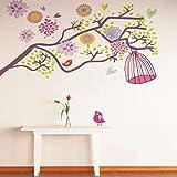 QTZJYLW Bunte Vogelkäfig Blume Pflanze Muster Wandaufkleber Wanddekorationen Wohnzimmer Home Decor Wandtattoo (60 × 90 cm)