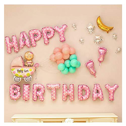 o, Baby Geburtstag Dekoration, Happy Birthday Buchstaben Luftballons und Aufblasbar Folie Ballons, Ballons Deko für Babyshower, Taufe MEHRWEG ()