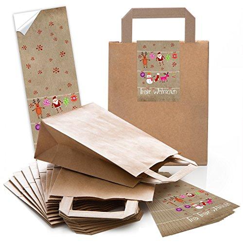 (25 kleine braune Geschenktüte Weihnachtstüte Papiertüte 18 x 8 x 22 cm kleine Papiertaschen + 25 Aufkleber FROHE WEIHNACHTEN pink rot natur Verpackung Geschenke give-away)