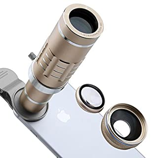 Phone Lens 18X Telephoto Lens Super Wide Angle Lens Macro Lens with Mini Flexible Tripod and Universal Clip for Most Smart Phone 3 in 1 Camera Kit (Gold)
