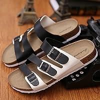 Las parejas masculinas zapatillas de corcho de verano tiene un pasador de pinza arena antideslizante cool zapatillas sandalias tendencia casual que el arrastre y la hembra 35 ,A-1 en blanco y negro Fankou