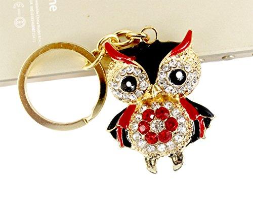 Xiaoyu cristal de diamantes llavero de búho animal keyring coche y accesorios de bolsos - negro