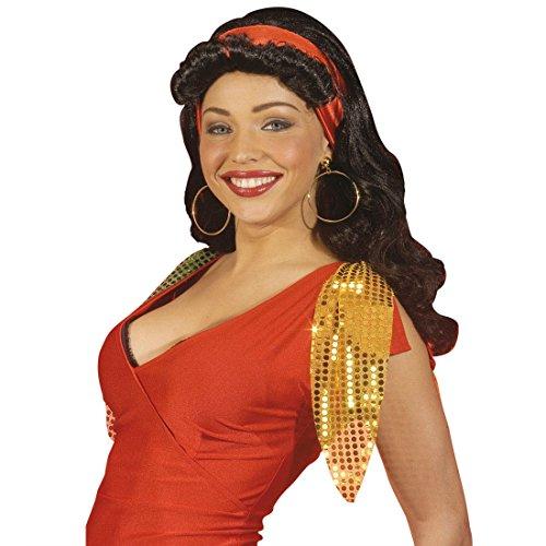 Zigeunerin Perücke Latina Damenperücke mit Kopftuch schwarz Esmeralda Langhaarperücke Piratin Kunsthaarperücke Spanierin Partyperücke Gipsy Kostüm Accessoire