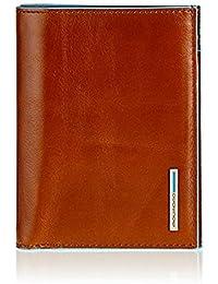 Portafoglio Uomo verticale Piquadro Blue Square arancione con scomparti per banconote, carte di credito e documenti PU1393B2/AR