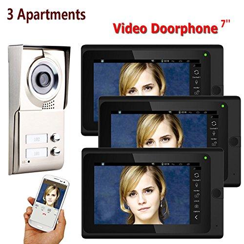 Dayangiii WiFi Video Puerta, 7inch Grabar cableado 3 Apartamentos teléfono Intercom Sistema...