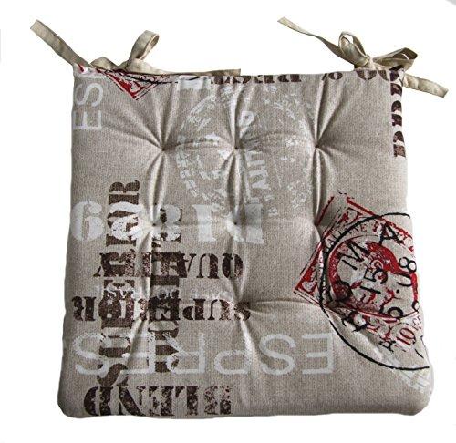 Stuhlkissen Platte Design ca. 40x40x3,5 cm, Design Coffee, Vintage, Beige und Grau, 9-fach Steppung (Beige)