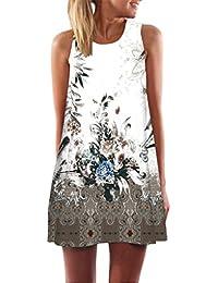 Vestidos mujer, Amlaiworld Vestido corto sin mangas de la impresión floral 3D sin mangas de