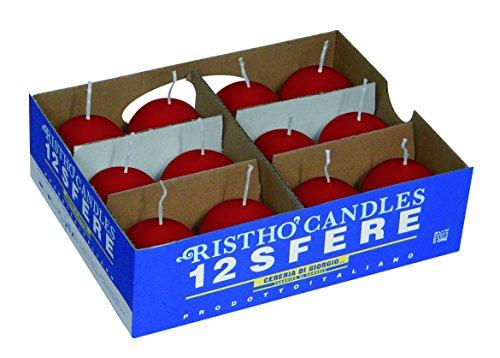 velas bola, cera, rojo, 4.5x 4.5x 4.5cm, 12unidades