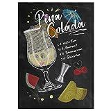 JUNIWORDS Poster mit/ohne Holzrahmen - Wähle ein Motiv - Cocktail Pina Colada - Wähle eine Größe - 21 x 30 cm (S) ohne Rahmen