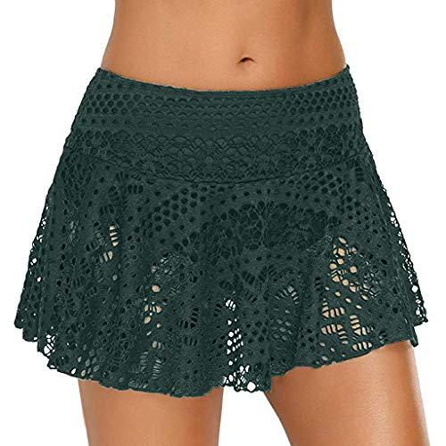 Bobopai Women''s Lace Crochet Skirted Bikini Bottom Swimsuit Short Skort Swimdress (Green) -