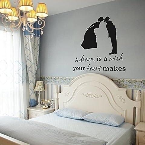 Vinilo de Princesas mairgwall un sueño es un deseo tu corazón hace las niñas dormitorio adhesivo para pared Cabecero de cama adhesivo decorativo, vinilo, negro, 47