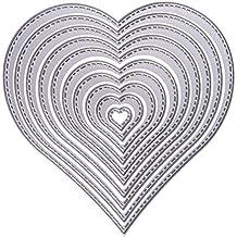 10pcs Corazón troquel de Metal con hilo de coser tarjeta de papel de troqueles de corte para DIY Scrapbooking álbum Decoración