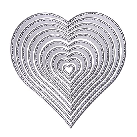 Demiawaking 10Pcs Heart Frame Cutting Dies Stencil for DIY Scrapbooking