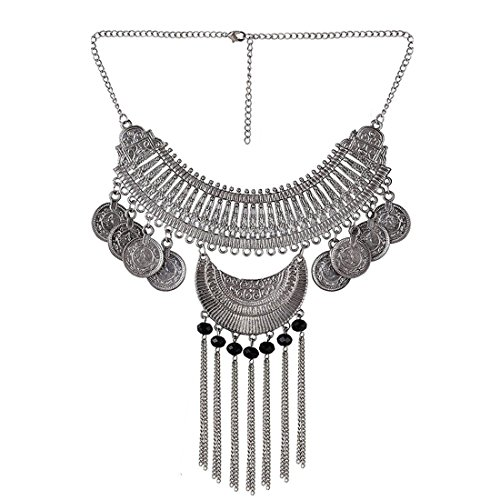 Aabhu Afghani Designer Turkish Style Vintage Oxidised German Silver Tribal Jhumki Necklace Pandeant Antique Jewellery Set For Girls & Women Boho Gypsy
