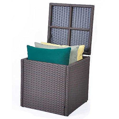 Garten Wufbewahrungsbox Auflagenbox Kissenbox, Poly Rattan, Regenfest and Rostfrei, 96L, 45 x 45 x...