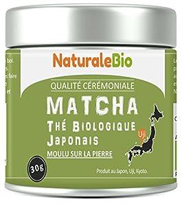 Thé Matcha Bio Japonais | Cérémonie Thé Vert Matcha en Poudre | Matcha Green Tea Produit au Japon Uji, Kyoto | Idéal à Boire, pour Cuisiner et dans le Lait | Boîtes de 30 g | NATURALEBIO®