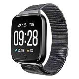 BZLine Bluetooth Smartwatch, Smart Watch Uhr Intelligente Armbanduhr Fitness Tracker Armband Sport Uhr Metall mit Heartrate Blutdruck Tracker Wasserdicht IP67 für Kinder Frauen Männer (Schwarz)