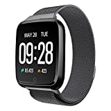 TPulling Mode Y7 Farbdisplay Armbanduhr Große Batteriekapazität Metall Heartrate Tracker Wasserdicht IP67 Edelstahlarmband Armband Bluetooth Smart Multi Sportuhr (Schwarz)